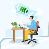 Aktive Geschäftsmann-Arbeits-Laptop-Computer volle Batterie stock abbildung
