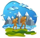 Aktive Paare, die zur Natur mit Gebirgszug, Freund und Freundin, Flitterwochen wandern Vektorillustration des schönen Sommers lizenzfreie abbildung