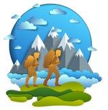 Aktive Paare, die zur Natur mit Gebirgszug, Freund und Freundin, Flitterwochen wandern Vektorillustration des sch?nen Sommers stock abbildung