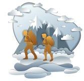 Aktive Paare, die zur Natur mit Gebirgszug, Freund wandern stock abbildung