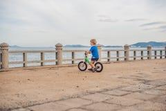 Aktiver blonder Kinderjunge, der Fahrrad im Park nahe dem Meer fährt Kleinkindkind, das Spaß am warmen Sommertag träumt und hat d Lizenzfreies Stockfoto