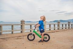 Aktiver blonder Kinderjunge, der Fahrrad im Park nahe dem Meer fährt Kleinkindkind, das Spaß am warmen Sommertag träumt und hat d Lizenzfreie Stockbilder
