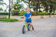Aktiver blonder Kinderjunge, der Fahrrad im Park nahe dem Meer fährt Kleinkindkind, das Spaß am warmen Sommertag träumt und hat d Lizenzfreie Stockfotografie