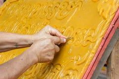 Aktiver Buddhist Festival Kerze Carvings geliehen Stockfotografie