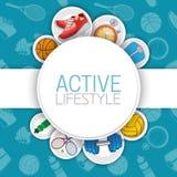 Aktiver gesunder Lebensstilhintergrund Lizenzfreie Stockbilder