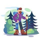 Aktiver Lebensstil, Tourismuskonzept Ein Wanderer des jungen Mannes steht in einem Wald mit einem Rucksack - flache Vektorillustr stockfotos
