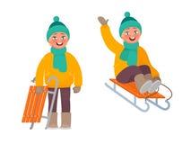 Aktiver Rest im Winter Der Junge reitet einen Schlitten stock abbildung