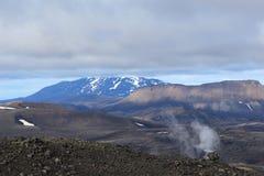 Aktiver Vulkan in Island Stockfotografie