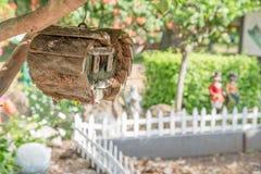 Aktivering för bröllopsresafölje som wodden fågelträdhus i trädgård Fotografering för Bildbyråer