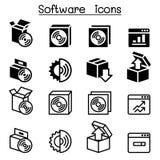Aktivering, konfiguration, underhåll & installationssymbolsprogramvara vektor illustrationer