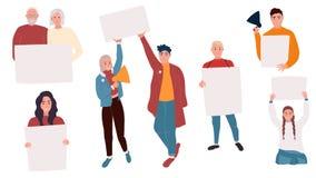 Aktivister med baner royaltyfri illustrationer