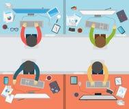 Aktivitet för kontorsarbetare på plan stil Arkivfoton
