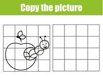 Aktivitet för rasterkopieringsbild Bildande barnlek Tryckbart ungeaktivitetsark med larven stock illustrationer