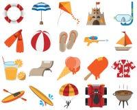 Aktiviteter och objekt f?r sommartid stock illustrationer