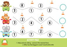 Aktivitetssida för barn Handskriftövning och matematik royaltyfri illustrationer