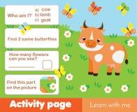 Aktivitetssida för ungar med kon Bildande tema för modiga djur för barn royaltyfri illustrationer