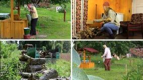 Aktivt bondaktigt folkarbete i by Fäster ihop collage stock video