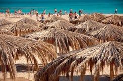 Aktivt folk på strand arkivbilder