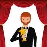 Aktor jest ubranym smokingu mienia złota gwiazdy nagrodę royalty ilustracja