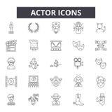 Aktor kreskowe ikony Editable uderzenie znaki Pojęcie ikony: dramat, występ, przedstawienie, teatr, etc Aktora kontur ilustracji