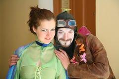 Aktora animator Jaroslav Rozanov w retro kostiumu pilota powietrzu Fotografia Royalty Free