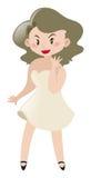 Aktorka w biel sukni ilustracja wektor