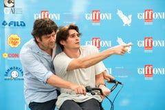Aktorzy Fabio De Luigi i Angelo Duro zdjęcia royalty free