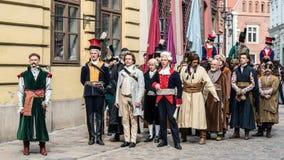 Aktorzy i dodatki wykonują Tadeusza Kosciuszko ` s ślubowanie Zdjęcie Stock