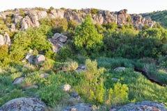 Aktove canyon sunrise landscape, Ukraine. Aktove canyon sunrise landscape with Mertvovid river, Ukraine Stock Photos