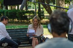 Aktris Sharon Stone i Rome, Italien, under filmandet av den Pupi Avati film`en en pojke av guld- ` på Juli 22, 2013 royaltyfria bilder