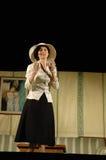 Aktris under performacen Arkivbilder