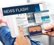 Aktualisierung neigt Berichts-Blitznachrichten-Konzept Stockbild