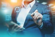 Aktualizaci oprogramowania programa komputerowego ulepszenia technologii interneta Biznesowy pojęcie zdjęcia stock