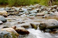 Aktuell flod för berg med forsar och steniga kuster Arkivbilder