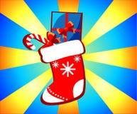 aktuell weihnachtspakete för jul Illustrationen på en celebratory bakgrund Royaltyfri Foto