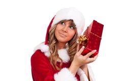aktuellt kvinnabarn för jul royaltyfria bilder