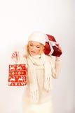 aktuellt rött sexigt vinterkvinnabarn fotografering för bildbyråer