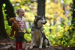 Aktywna dziewczyny sztuka z psem w jesień aktywnego lasowym odpoczynku i dziecko aktywności na świeżym powietrzu plenerowym Zdjęcie Stock