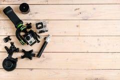 Aktywna kamera Na stole Drewniany tło piękny taniec para strzału kobiety pracowniani young Zdjęcia Royalty Free
