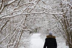 Aktywna kobieta chodzi na śnieżnym footpath obrazy stock