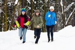 Aktywna rodzina i dzieciaków biegać plenerowy w zima parku - matkuje Zdjęcia Stock