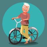 Aktywna starsza stary człowiek kreskówka, śliczny, uroczy wektorowy charakter, royalty ilustracja