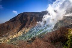 Aktywne siarczane wentylacje Owakudani przy Fuji wulkanem Zdjęcie Royalty Free