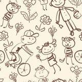 Aktywnego dzieciaka plenerowy rekreacyjny monochromatyczny bezszwowy wzór Fotografia Stock
