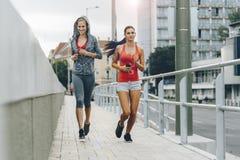 Aktywni żeńscy joggers biega outdoors obraz stock