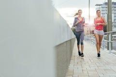 Aktywni żeńscy joggers biega outdoors Zdjęcie Royalty Free