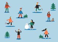 Aktywni persons Zima ustawiająca z ludźmi: łyżwiarski mężczyzna, kobiety z saniem, kobiety z prezentem, mężczyźni w pulowerze, ko royalty ilustracja