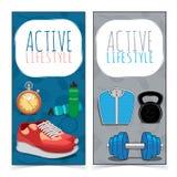 Aktywni stylów życia sztandary Obraz Stock