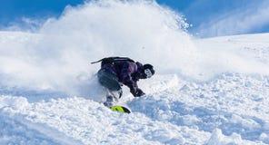 Aktywni zima wakacje, narciarstwo i jazda na snowboardzie, Zdjęcie Royalty Free
