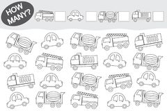 Aktywność dla dzieci Odliczająca Edukacyjna gra książkowa kolorowa kolorystyki grafiki ilustracja Transport ilustracji